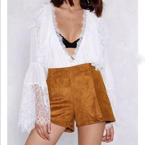 Pants - NWT NASTY GAL Suede & Crochet High Waist Shorts L